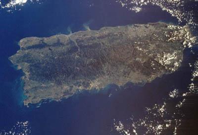 Foto de satelite de Puerto Rico.